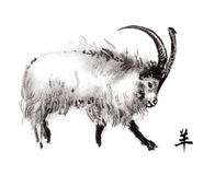 Goat oriental ink painting, sumi-e Royalty Free Stock Photography