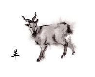 Goat oriental ink painting, sumi-e Royalty Free Stock Image