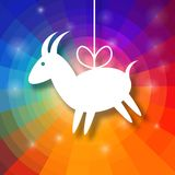 Goat Paper on Bright Colorful Rainbow Background. Goat Paper Applique on Bright Colorful Rainbow Background. 2015 - Chinese New Year of the Goat. Vector Stock Photo