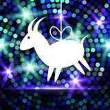 Goat Paper on Glowing Bright Blue  Background. Goat Paper Applique on Glowing Bright Blue - Green Background. 2015 - Chinese New Year of the Goat. Vector Stock Images