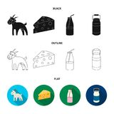 Goat, a piece of cheese and other products. Milk set collection icons in black,flat,outline style vector symbol stock. Illustration Stock Photography