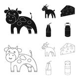 Goat, a piece of cheese and other products. Milk set collection icons in black,outline style vector symbol stock. Illustration Stock Photography