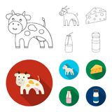 Goat, a piece of cheese and other products. Milk set collection icons in outline,flat style vector symbol stock. Illustration Stock Photos