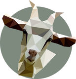 Goat in a polygon style. Fashion illustration of the trend in st. Yle on gray background. Farm animals Royalty Free Stock Photo