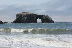 Goat Rock Beach is located between Goat Rock Point and the Russian River along the Sonoma County shore near the town of Jenner. The Russian River, with its Royalty Free Stock Image