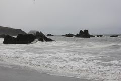 Goat Rock Beach is located between Goat Rock Point and the Russian River along the Sonoma County shore near the town of Jenner. The Russian River, with its Stock Photo
