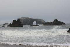 Goat Rock Beach is located between Goat Rock Point and the Russian River along the Sonoma County shore near the town of Jenner. The Russian River, with its Royalty Free Stock Images