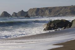 Goat Rock Beach -  northwestern Sonoma County, California,  is the mouth of the Russian River. And the southern end of this crescent shaped expanse is the stock photography