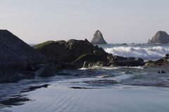 Goat Rock Beach -  northwestern Sonoma County, California,  is the mouth of the Russian River. And the southern end of this crescent shaped expanse is the Stock Images