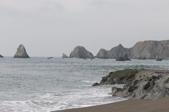 Goat Rock Beach -  northwestern Sonoma County, California,  is the mouth of the Russian River. And the southern end of this crescent shaped expanse is the Royalty Free Stock Images