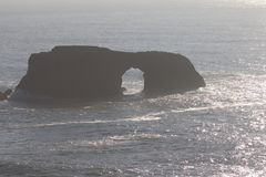 Goat Rock Beach -  northwestern Sonoma County, California,  is the mouth of the Russian River. And the southern end of this crescent shaped expanse is the Stock Photos