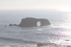 Goat Rock Beach - northwestern Sonoma County, California, is the mouth of the Russian River. And the southern end of this crescent shaped expanse is the stock photo