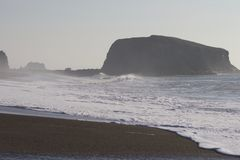 Goat Rock Beach - northwestern Sonoma County, California, is the mouth of the Russian River. And the southern end of this crescent shaped expanse is the royalty free stock image