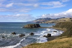 Goat Rock State Beach. An image of Goat Rock State beach taken from a bluff above the park royalty free stock photography