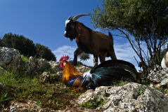 Goat and rooster Royalty Free Stock Photos