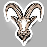 Goats head. Stylizing Goats head, symbol of the year.  Sticker  for your design Royalty Free Stock Photos