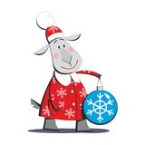Goat in Santa Claus costume 01. Cartoon goat in Santa Claus costume holding Christmas toy isolated on white background, vector illustration 01 Stock Images