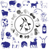 Goat and sheep drawings and icons Royalty Free Stock Photography