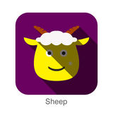 Goat sheep face flat icon design. Animal icons series. Royalty Free Stock Photos