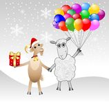 Goat and sheep with a gift and air marbles Royalty Free Stock Photos