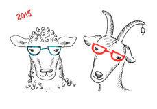 Goat and sheep with glasses. Watercolor, hipster style.2015 Chinese New Year of the Goat stock illustration