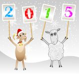 Goat and sheep with numbers 2015 Stock Photography