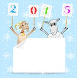 Goat and sheep with numbers 2015. Vector illustration Stock Images