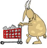 Goat shopper. This illustration depicts a goat pushing a shopping cart full of tin cans Royalty Free Stock Photo