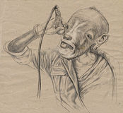 Goat Singer. An Hand Drawn Full Sized Illustration, Original. Stock Image