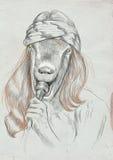 Goat Singer. An Hand Drawn Full Sized Illustration, Original. Royalty Free Stock Photo