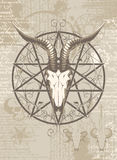 Goat skull on the background with occult symbols Royalty Free Stock Photo