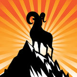 Goat standing on mountain burst 2015 Chinese New Year. EPS 10 vector Royalty Free Stock Photography