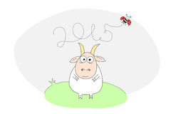 Goat symbol 2015. A cartoon goat symbol 2015 on east calendar Royalty Free Stock Photos