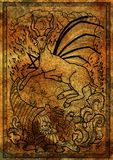 Goat symbol with horn of abundance, hell fire and diabolic sign - pentagram on antique texture background. Stock Photography