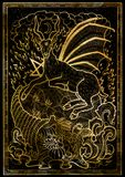 Goat symbol with horn of abundance, hell fire and diabolic sign - pentagram on black texture background. Fantasy engraved illustration. Zodiac animals of eastern Royalty Free Stock Image