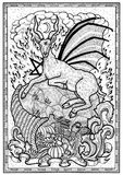 Goat symbol with horn of abundance, hell fire and diabolic sign - pentagram in frame. Fantasy engraved illustration for t-shirt, print, card, tattoo design Royalty Free Stock Photos