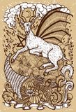 Goat symbol with horn of abundance, hell fire and diabolic sign - pentagram on old texture background. Fantasy engraved illustration. Zodiac animals of eastern Royalty Free Stock Photography