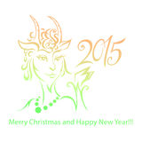 Goat - symbol 2015 - Illustration. Vector illustration of a goat - a symbol of 2015 on east calendar Stock Photos