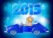 Goat, symbol New Year 2015. Goat in the car. Symbol New Year 2015 on the eastern calendar, year goat Stock Photo
