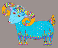 Goat symbol of 2015 year, decorative drawing in. Ethnic style, vector illustration Stock Photo