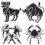 Goat, taurus, twins and cancer horoscope symbols Stock Images