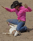 Goat tying. Event: 2011 Hawai'i Women's Rodeo Association All Girls Statewide Rodeo Stock Photos
