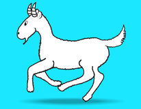 Goat. Vector on blue background Stock Photography
