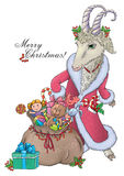 Goat wishes Merry Christmas Royalty Free Stock Image