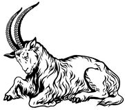 Goat zodiac black white Stock Photos