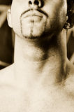 Goatee. Male neck and goatee looking up high contrast Stock Photography