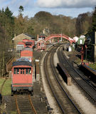 Goathland Station in North Yorkshire UK. Taken from the road bridge. Goathland is the setting for the TV series Heartbeat stock images