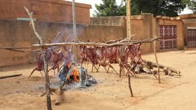 Goats being grilled in the streets of Niamey, Niger Stock Image