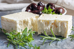 Goats Cheese with Black Olives and Herbs Royalty Free Stock Photo