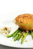 Goats Cheese Cake with Fresh Green Asparagus Stock Photo